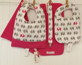 Baby Gift Set, Baby Shower Gift, Bib & Burp Cloth Set, Toddler Pocket Bib, Bandana Drool Bib, Pacifier Leash