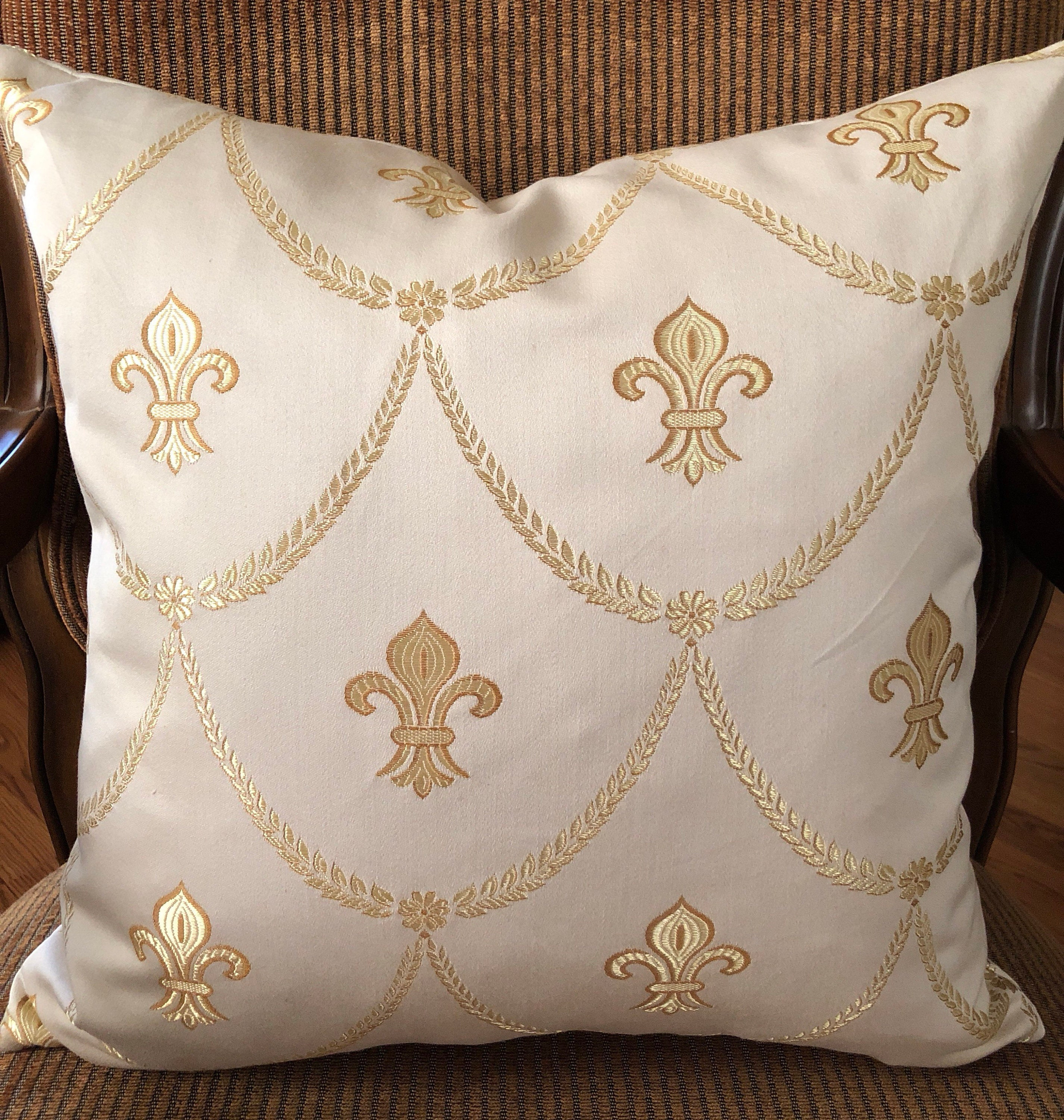 18 In Embroidered Fleur De Lis Pillow Cover