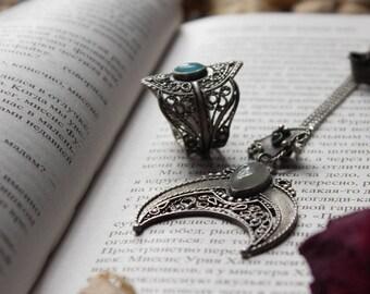 Silver pendant Moon aquamarine and tourmaline,Lunnica silver pendant pendant,silver ethnic jewelry,silver pendant lunnitsa,silver bohemian
