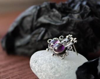 Silver stud earrings with Amethyst,silver earrings romantic,small Art Nouveau silver earrings,small sterling silver stud purple earrings
