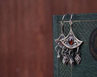 Ethnic silver garnet earrings,dangle & drop earrings,boho sterling silver garnet, long silver earrings, silver ethnic jewelry, boho earrings