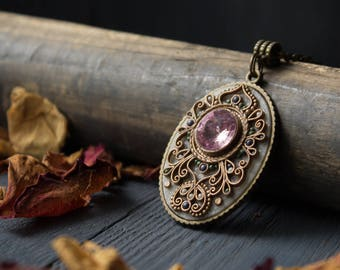 Classic pendant Swarovski lilac,classical pendant ornament,ethnic lilac pendant,pendant with ornament,ethnic tibetan pendant,boho jewelry