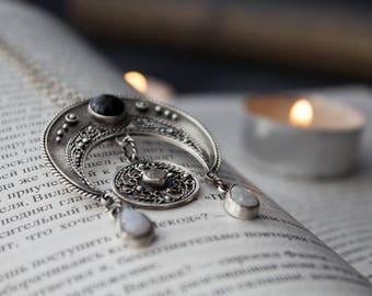 Silver lunette pendant, silver bobo pendant month / moon, silver filigree pendant Moon, pendant moonstone ornament, Moon silver boho jewelry