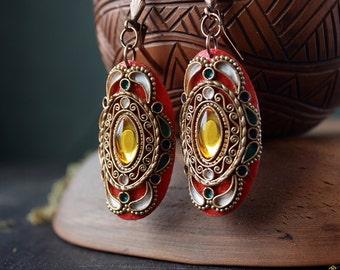 Red boho earrings, ethnic jewelry, oval indian earrings, indian red earrings, hippie earrings,dangle and drop earrings,bohemian red earrings