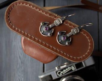 Space silver Iholit earrings, silver space earrings, fantasy amethyst chrysolite gothic jewelry, Steampunk earrings, cyberpunk earrings