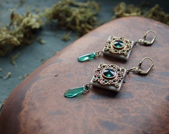 boho green Swarovski earrings,ethnic jewelry,indian earrings,indian jewelry,hippie earrings, square green earrings, dangle and drop earrings