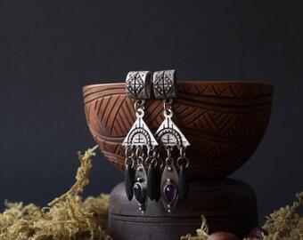 Silver amethyst black earrings, Silver Boho earrings, silver earrings, silver Indian jewelry, Dangle & Drop Earrings, boho black earrings