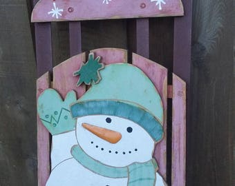 Vintage Wood Sled Toboggan Snowman Winter Snow Toy Doll Rustic Holiday Christmas Story Wall Decoration Prop Wedding Book Winter Door Wreath