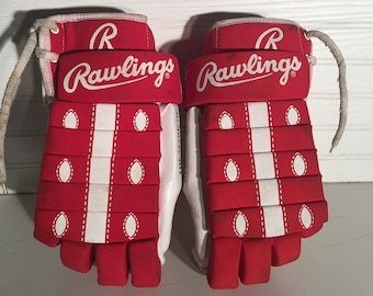Vintage Rawlings Hockey Gloves Red Lace up 929 14.5 inch Canadian