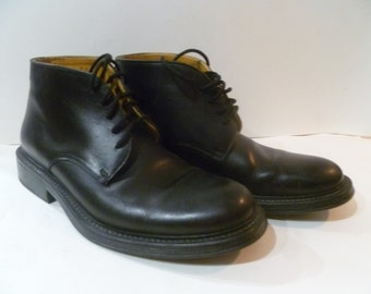 Vintage Coach Leather Black Boots Shoes Mens 10 made in Italy Ankle Chukka Rocker Biker Hipster Beatle Lace up Punk Dress casual Italian