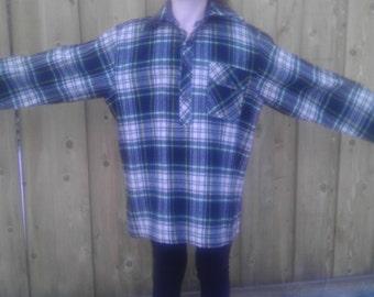 Vintage LL Bean Wool Shirt Jacket Coat Men L Tartan Plaid Check Women XL Blue Green Work Field Winter Cabin Large Medium Warm Lumberjack