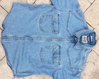 Vintage Levis Jean Shirt Jacket Silver Tab Denim Men Large Trucker Pocket Blue long sleeve Distressed Worn Snaps Work women xl tunic rugged