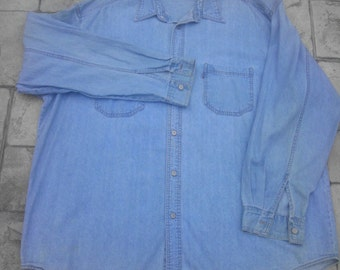 Vintage Levis Red Tab Denim Shirt Men XXL Blue Jean Large Metal Button faded Work worn Cowboy Grunge Long Sleeve Trucker Jacket Gift