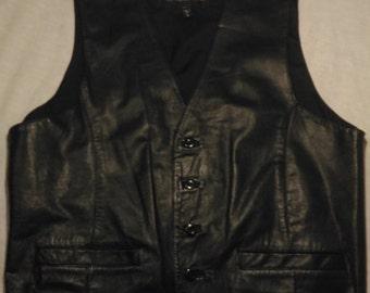 Vintage Leather Vest Men L Large Black Wilsons Biker Motorcycle Rocker Punk Women Cowboy 2 Pockets Adjustable Button Wedding Dress
