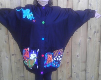 Vintage Jacket Blazer Cardigan Black Coat Pockets Duster Tunic CAT lover SILKSCAPES xL Shirt 1X 2X Dress Casual Silk Dolman one size women