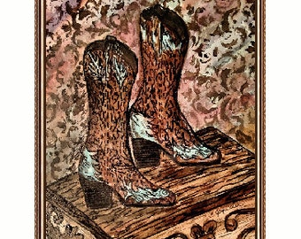 These Boots A Southwestern Pen and Ink From A Watercolor Print  9 X 12
