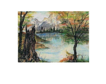 11 x 14  Giclee Print   From an Original Acrylic Painting  by Douglas  Wyoming Artist Joyce Lee