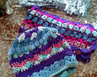 Pruple and Blue Hand Crocheted Beanie Hat And Scarf Set Soft Yarns Fun Look
