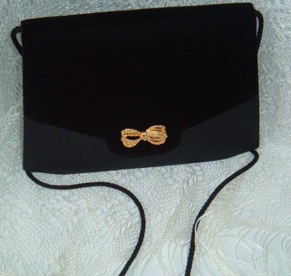 Sac à main en velours noir Retro - Sacs à main sac à main rétro - femmes sac à main noir - sac à main vintage - vintage en velours noir sac à main