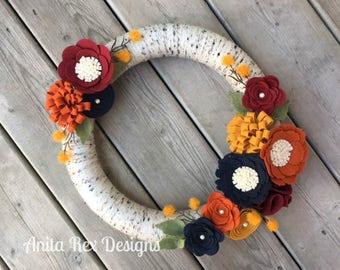 Fall Wreath, Yarn Wreath, Fall Decor, Birch Wreath, Orange, Navy, Burgundy Mustard Felt Flowers, Felt Flower Wreath, Thanksgiving Decor