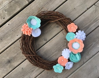 Spring Wreath, Peach Mint Felt Flower Wreath, Rustic Wreath