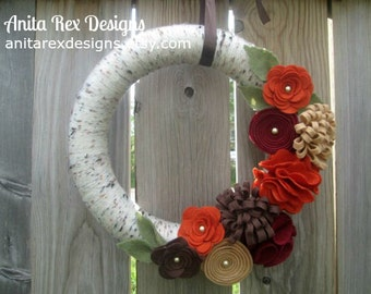 Fall Wreath, Yarn Wreath, Fall Yarn Wreath, Autumn Wreath, Thanksgiving Wreath