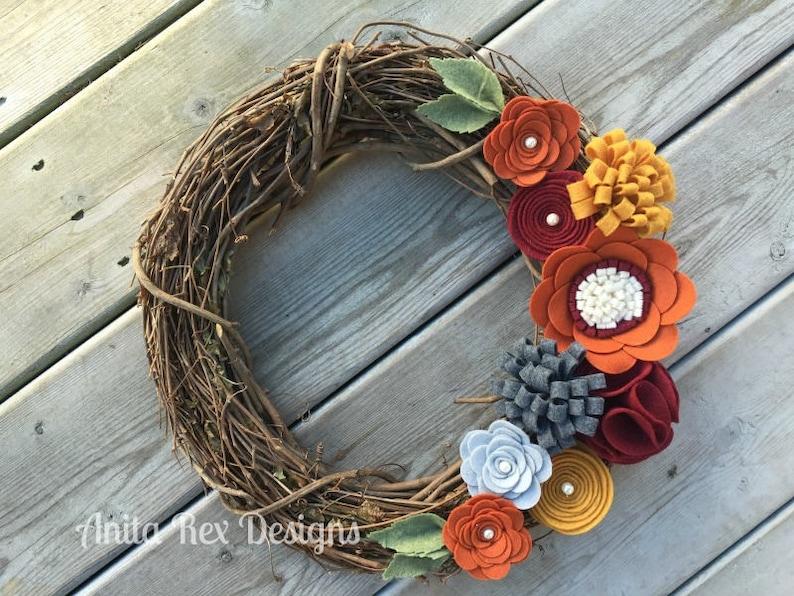 Fall Wreath Fall Felt Floral Wreath Thanksgiving Wreath image 1