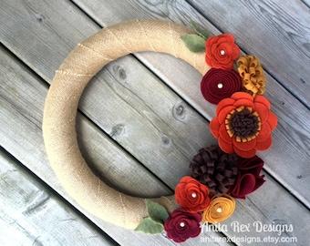 Fall Wreath, Fall Burlap Wreath, Fall Felt Flower Wreath, Thanksgiving Decor, Fall Decor