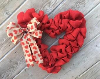 Valentine Wreath, Heart Wreath, Burlap Valentine Wreath