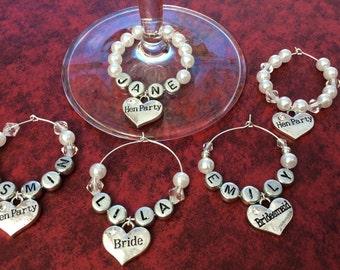 WEDDING WINE GLASS Charms Pendants Bride, Groom, Bridesmaid, maid of honor, Mother of bride Hens party, hens night, Best man, Groomsman, hen