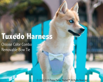 Formal Tuxedo Bow Tie Dog Harness - Design Your Own Wedding Dog Harness - Dog of Honor Attire