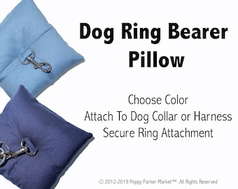 Dog Ring Bearer Ring Pillow Only - Choose Color - Secure Removable Attachment - Wedding Dog