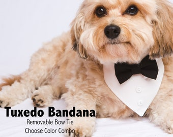Dog Tuxedo Bandana With Matching Bow Tie and Collar - Choose Your Color - Dog of Honor