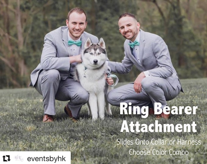 Original Dog Ring Bearer Ring Holder Attachment Only - Ivory Linen Shown - Secure Removable Attachment - Wedding Dog