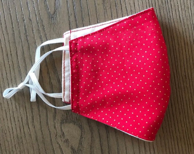 Red Gold polka dot holiday Face mask, christmas mask