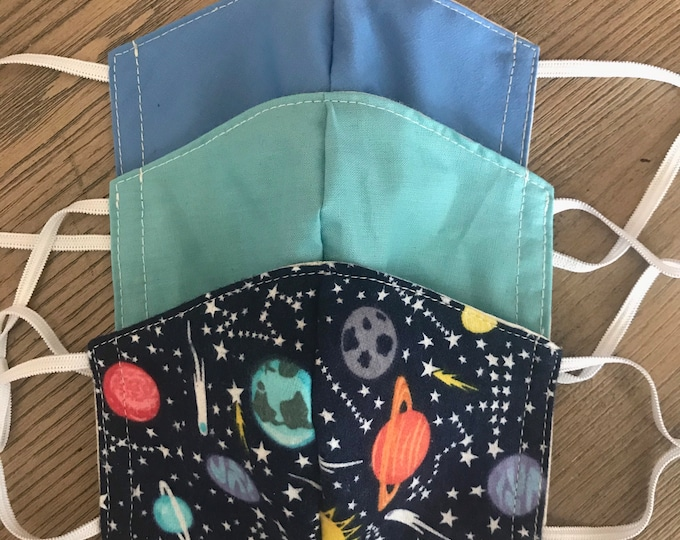 Navy Blue Space Planets 3 Pack, cotton fabric mask, Kids mask