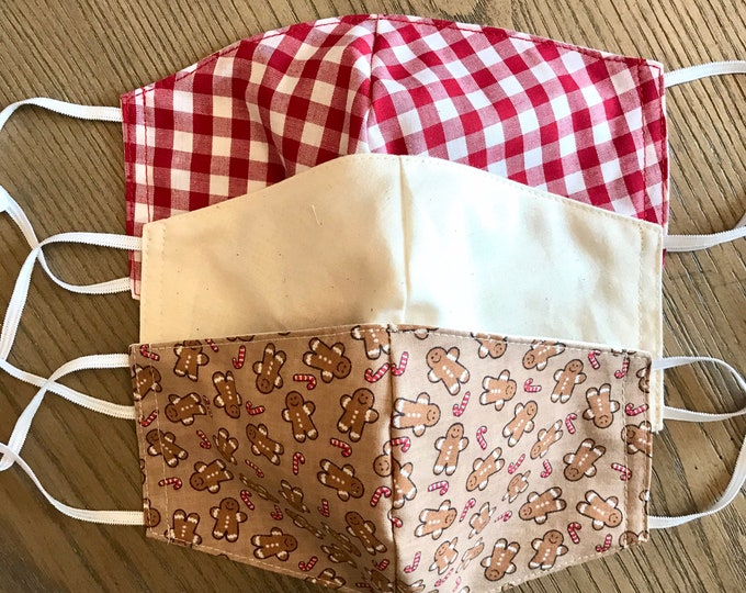 Festive Christmas Gingham Pattern 3 Pack, cotton face mask, fabric mask, adjustable straps, gingerbread men, tan, red gingham