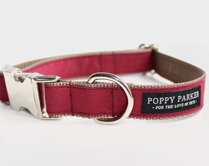 Fall Burgundy Dog Collar - Crimson Cranberry