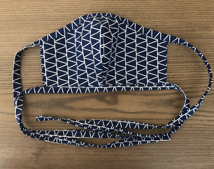 Adult Double Navy Geometric Face Mask With Tie, cotton face mask, fabric mask