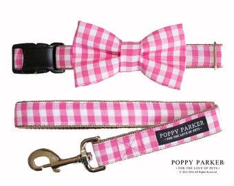 Pink Gingham Dog Bow Tie - Spring Dog