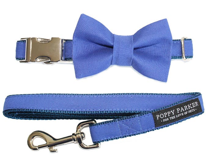 Original Dog Bow Tie Collar Leash - Dog Of Honor - Horizon Blue - Royal Blue