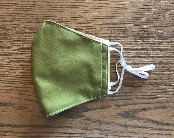 Olive Green and Taupe Face mask, cotton face mask, fabric mask, adjustable straps