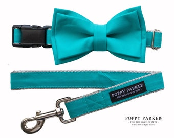 Teal Dog Collar with Removable Layered Bow Tie by Poppy Parker Market - Ring Bearer