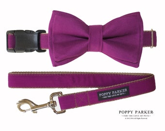 Layered Dog Bow Tie - Berry Bright Purple Raspberry - Wedding Dog Of Honor Bow