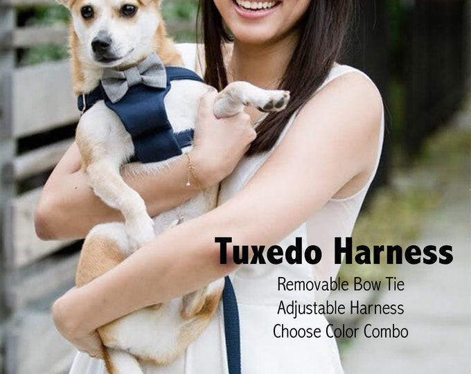 Formal Tuxedo Bow Tie Dog Harness - Design Your Own Wedding Dog Harness - Choose Colors