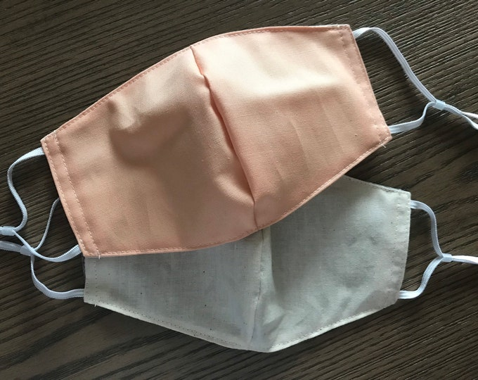Double Sided Peach and Taupe Face mask, cotton face mask, fabric mask, no filter pocket, metal nose piece, adjustable straps