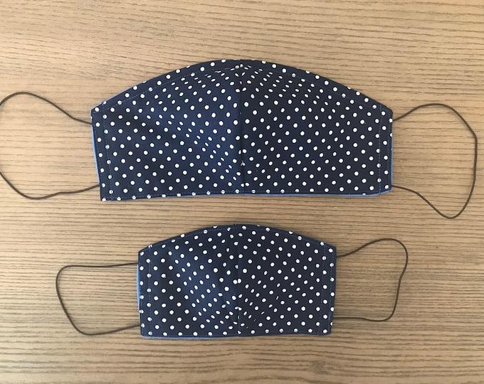 Mother Son Twinning Navy Polka Dot Face Mask  With Adjustable Ear Loop Set