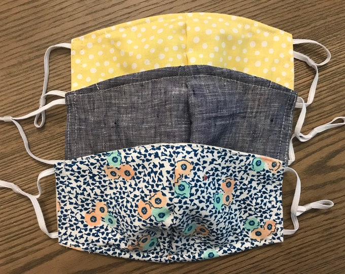 Yellow Chambray Flower 3 Pack, cotton face mask, fabric mask, adjustable straps