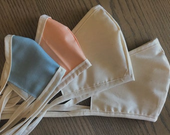 Family Variety Tan Plain Face Mask With Tie 2 Sizes, Reversible, Soft Cotton