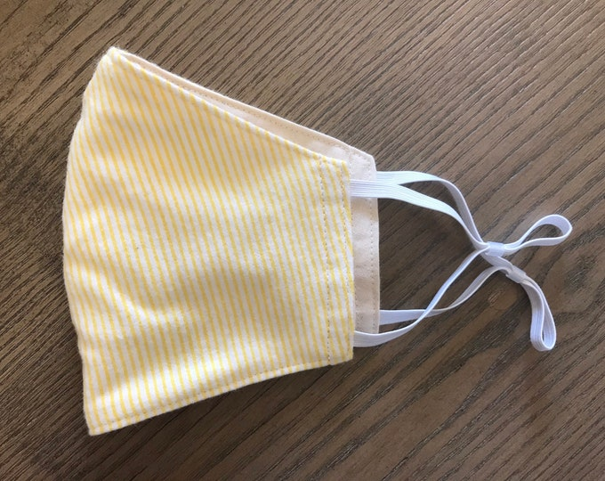Soft Pale Yellow Stripe and Taupe Face mask, cotton face mask, fabric mask, adjustable straps